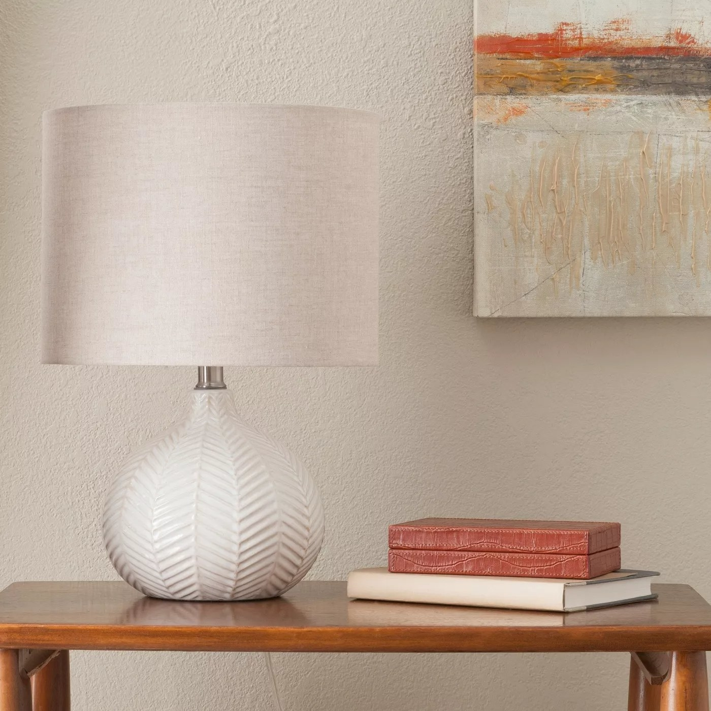 The lamp on an entryway table