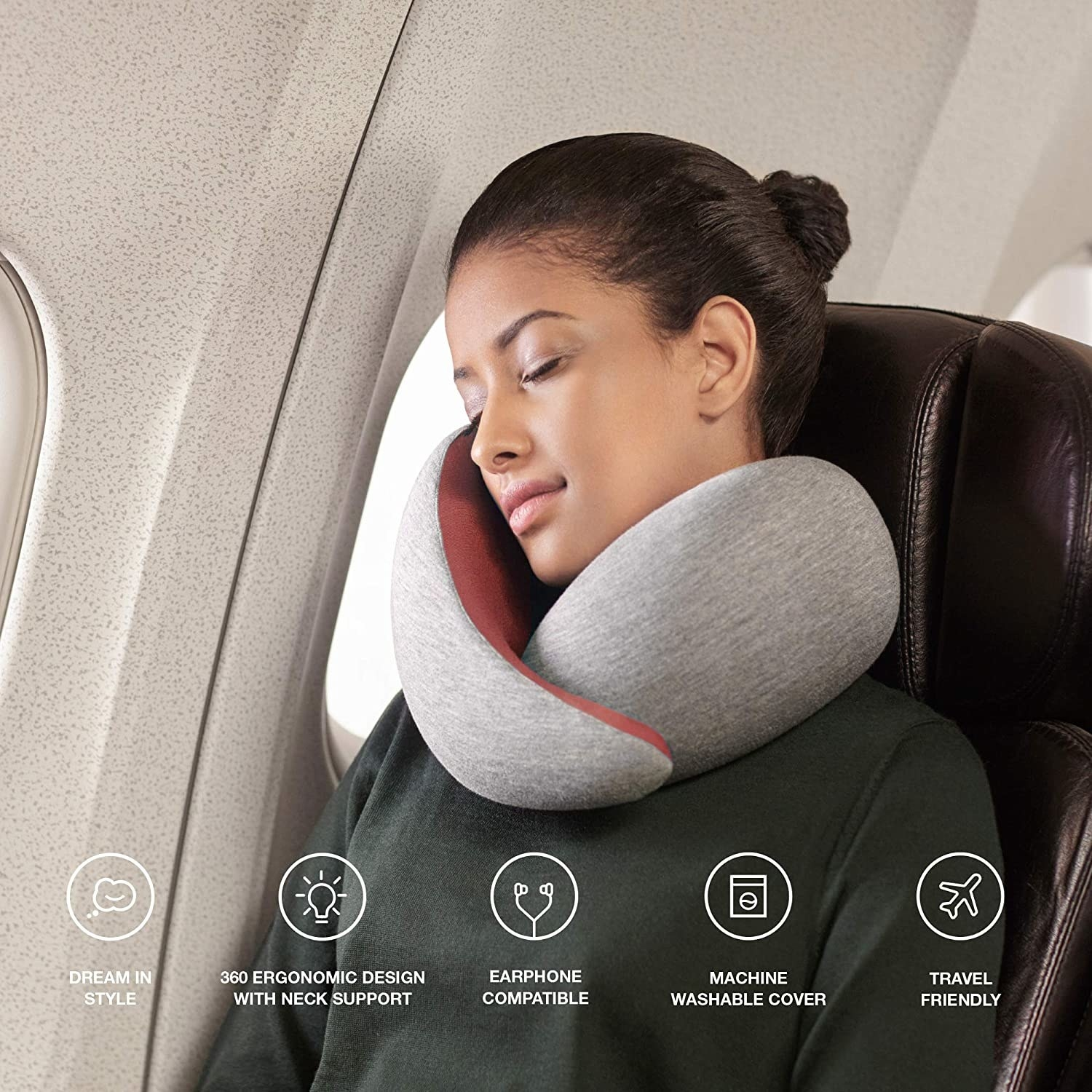 Model with the neck pillow that's higher on one side to lean against
