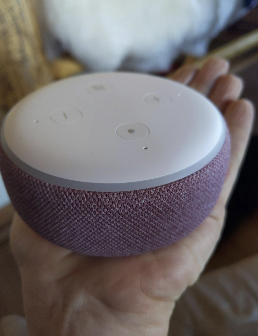 reviewer's hand holding the Echo Dot which is circular and a pink color