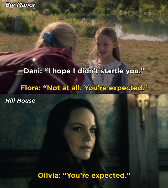 """Flora telling Dani, """"You're expected"""" and Olivia saying the same thing"""
