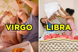 On the left, two friends eating pizza in bed labeled