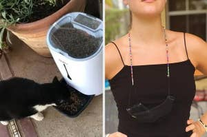 On the left, an automatic pet feeder, and on the right, a necklace chain for face masks