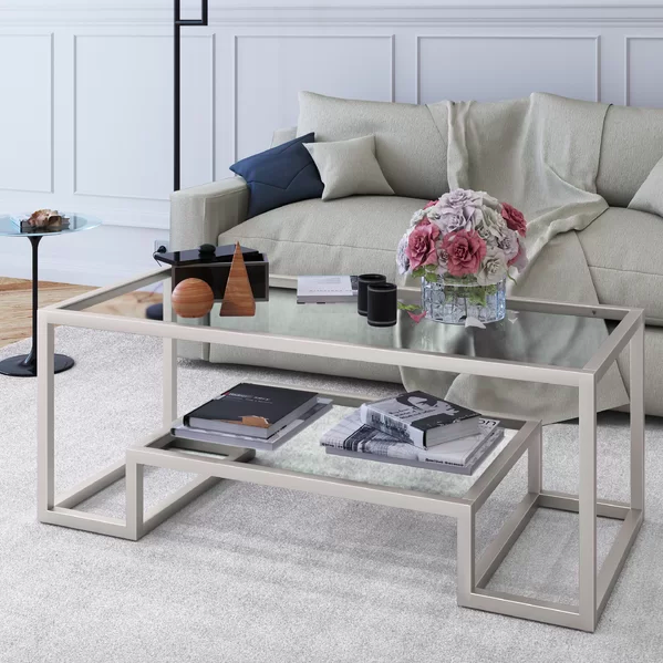gray sculptural coffee table in living room