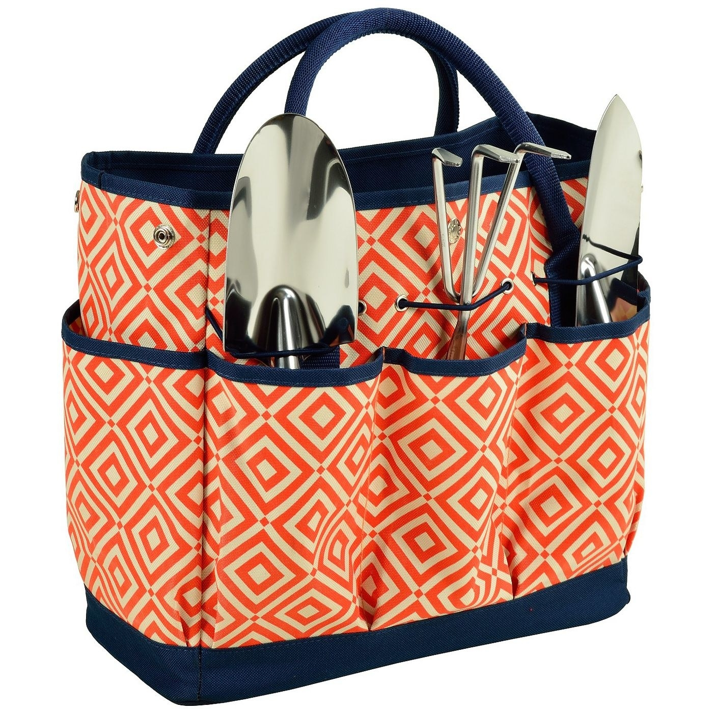 The tote, which has a large central pocket and three smaller outer pockets on either side