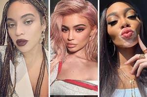 Beyonce, Kylie Jenner, and Winnie Harlow posing for beautiful selfies