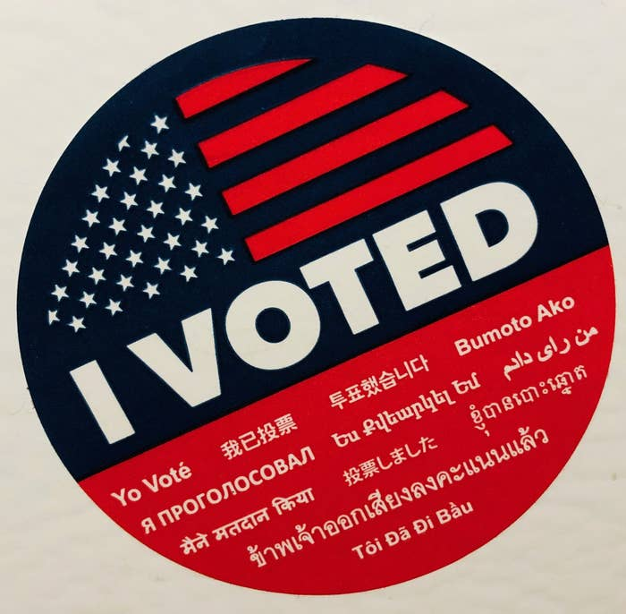 "An ""I Voted"" sticker"