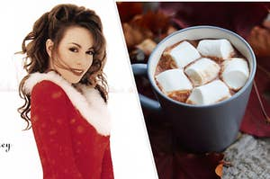 Mariah Carey's album cover for All I Want For Christmas Is You next to an image of a hot chocolate with huge marshmallows