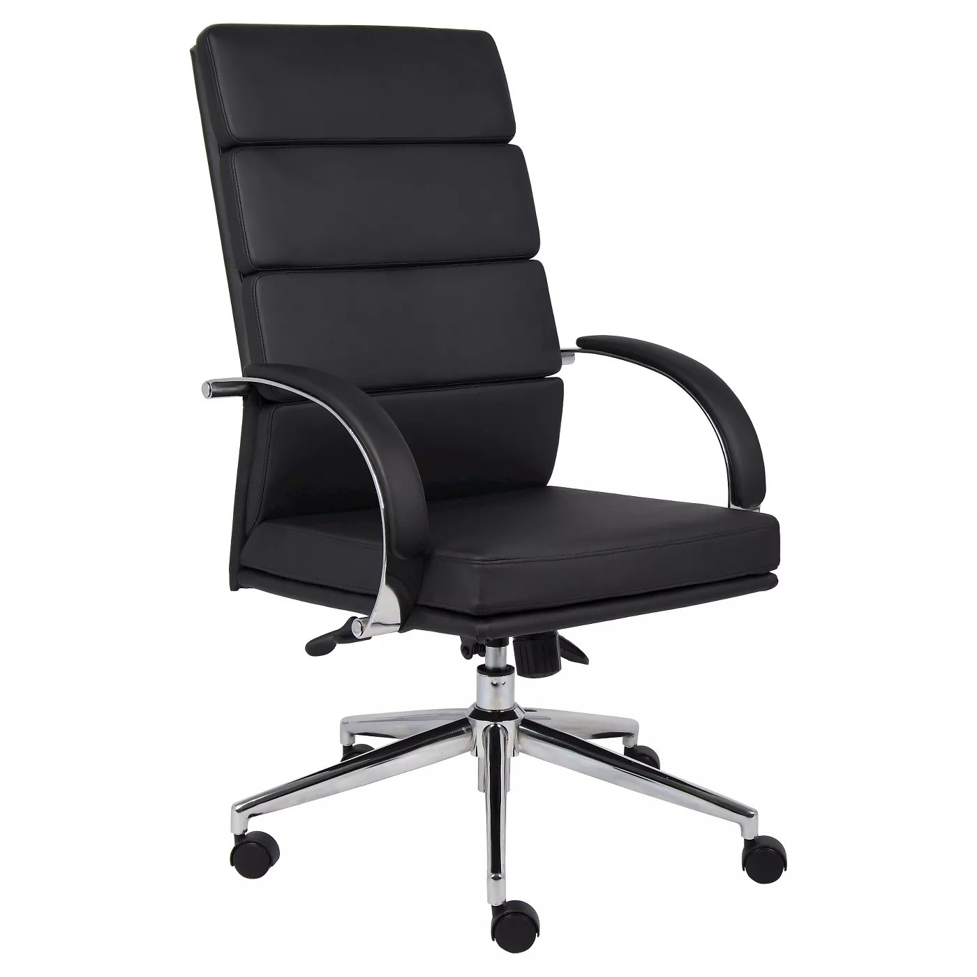 An upholstered black office chair with a high crown chrome base, padded armrests, and four adjustments