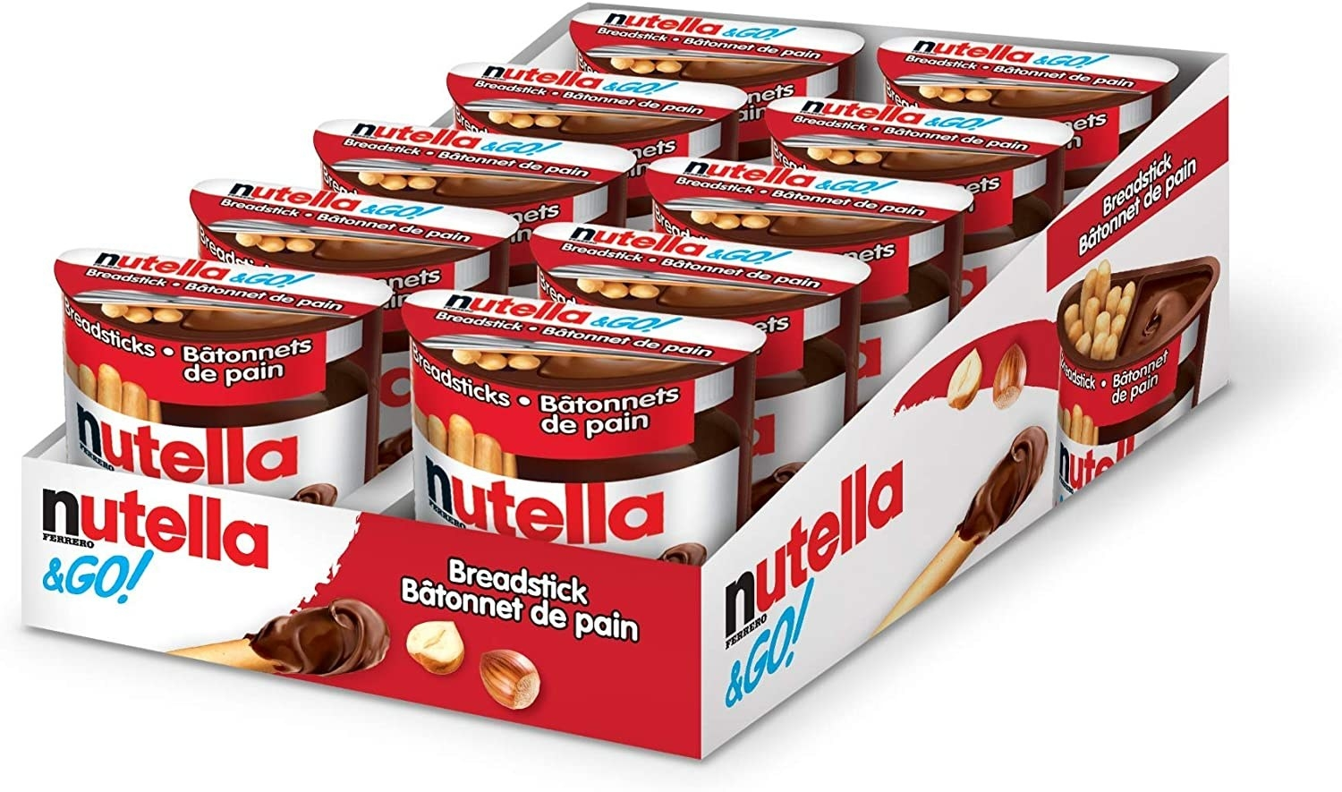 A pack of ten Nutella and Go snack packs