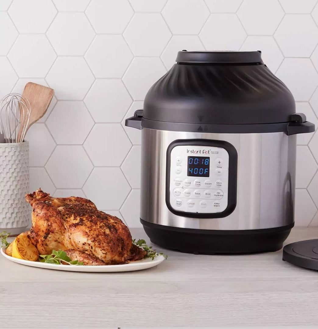 The Instant Pot with the air fryer lid and 11 cooking presets