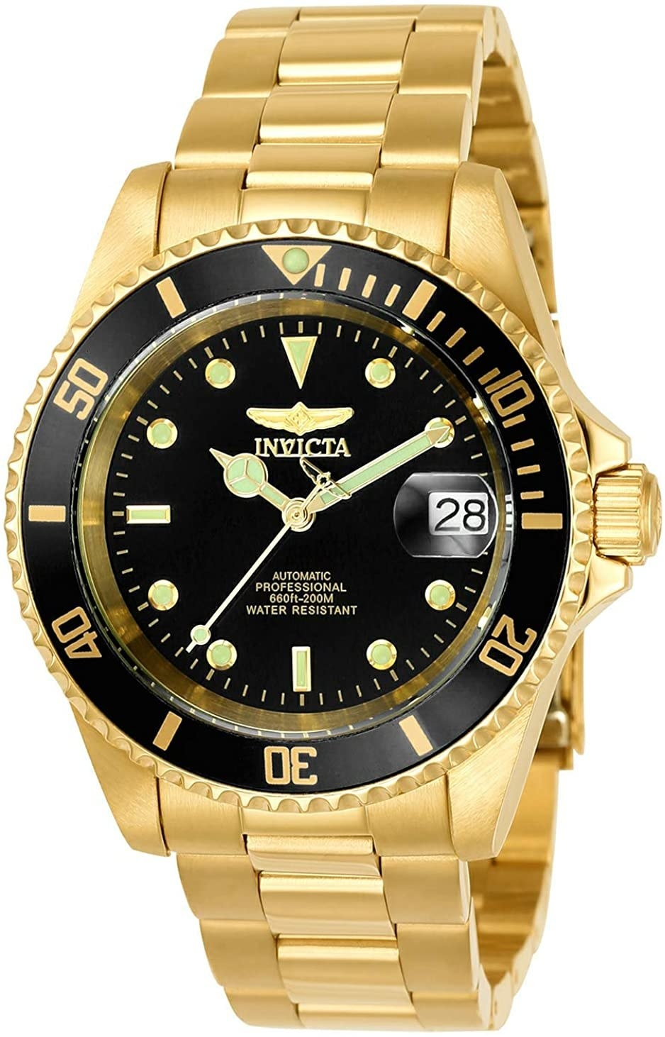 A black and gold Invicta watch