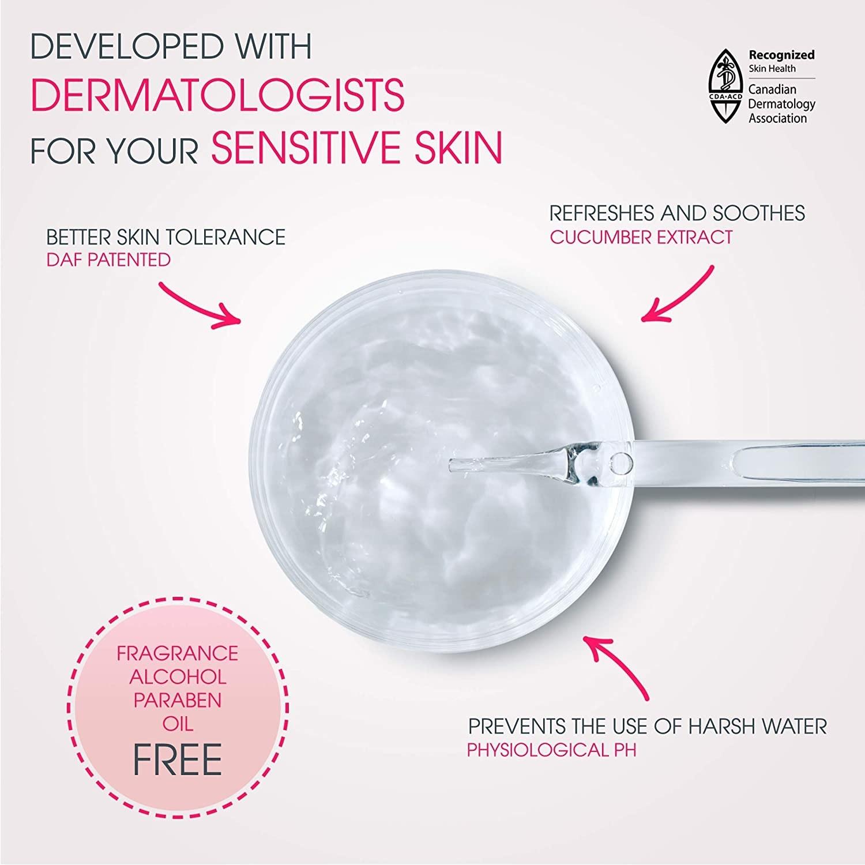 Diagram showing that it's safe for sensitive skin