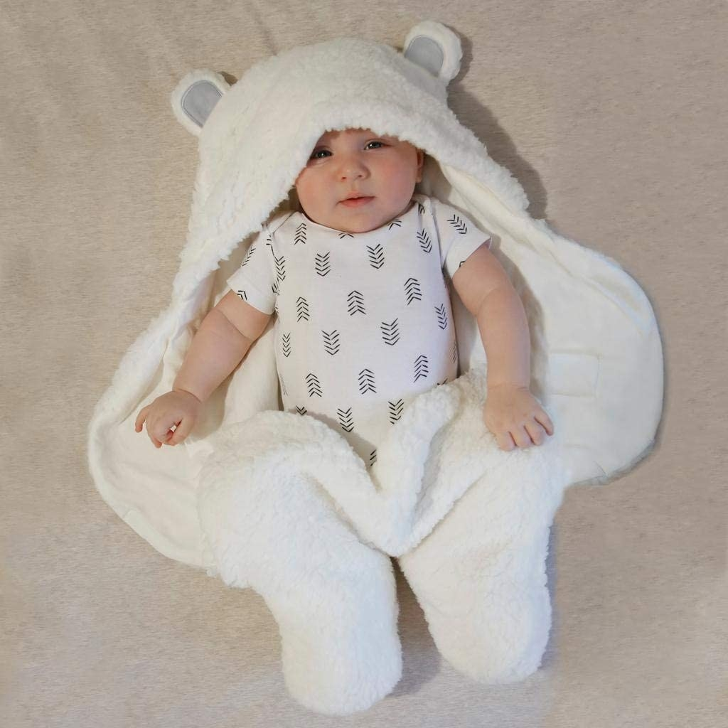 Fuzzy bearskin shaped swaddle with ear hood and legs