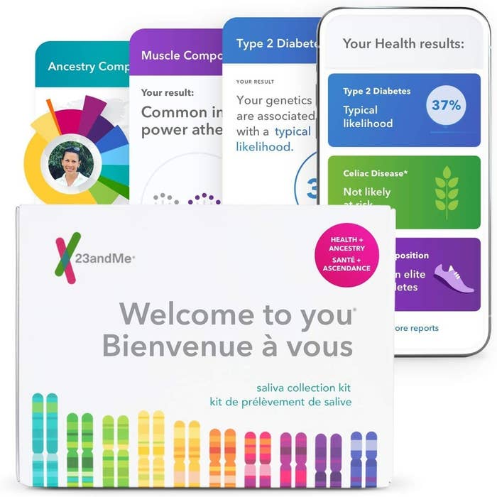 A DNA kit box that says 23andMe welcome to you