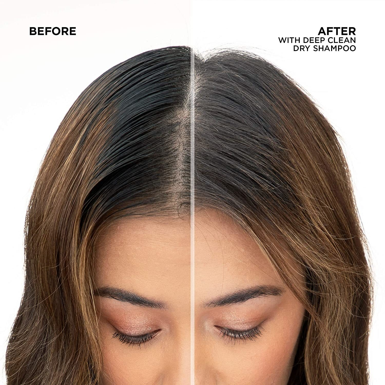 before and after photo of model with grease hair on the left and visibly less greasy hair on the right