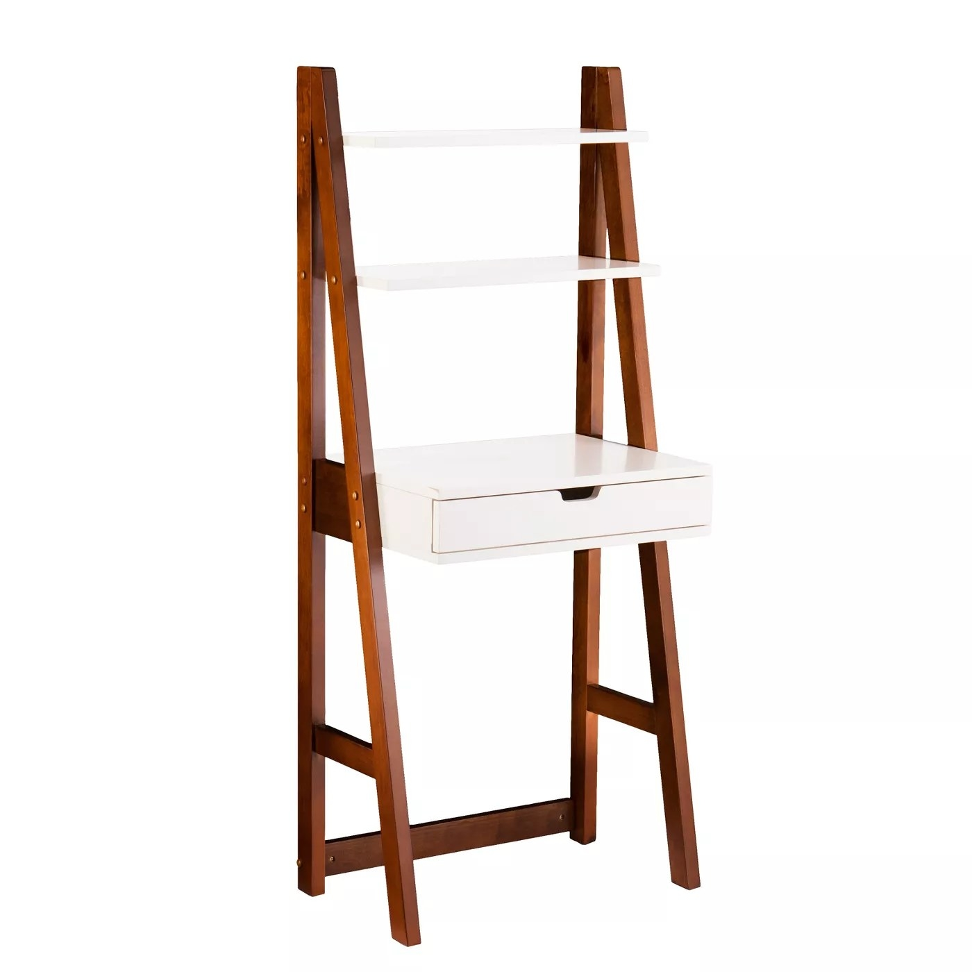 A leaning bookcase desk with a wood frame and a white laminate desk and shelves