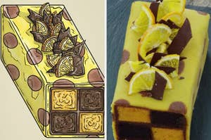 Lemon and Chocolate battenberg cake side-by-side with the real cake