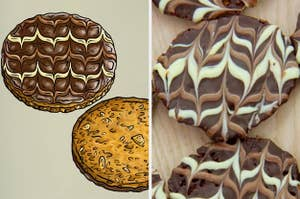 Dave's florentines side-by-side with his final bake