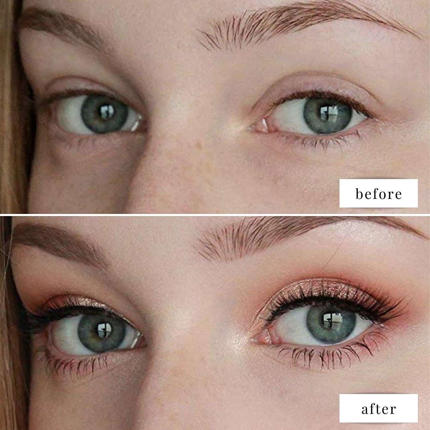 model before and after applying eye shadow and primer