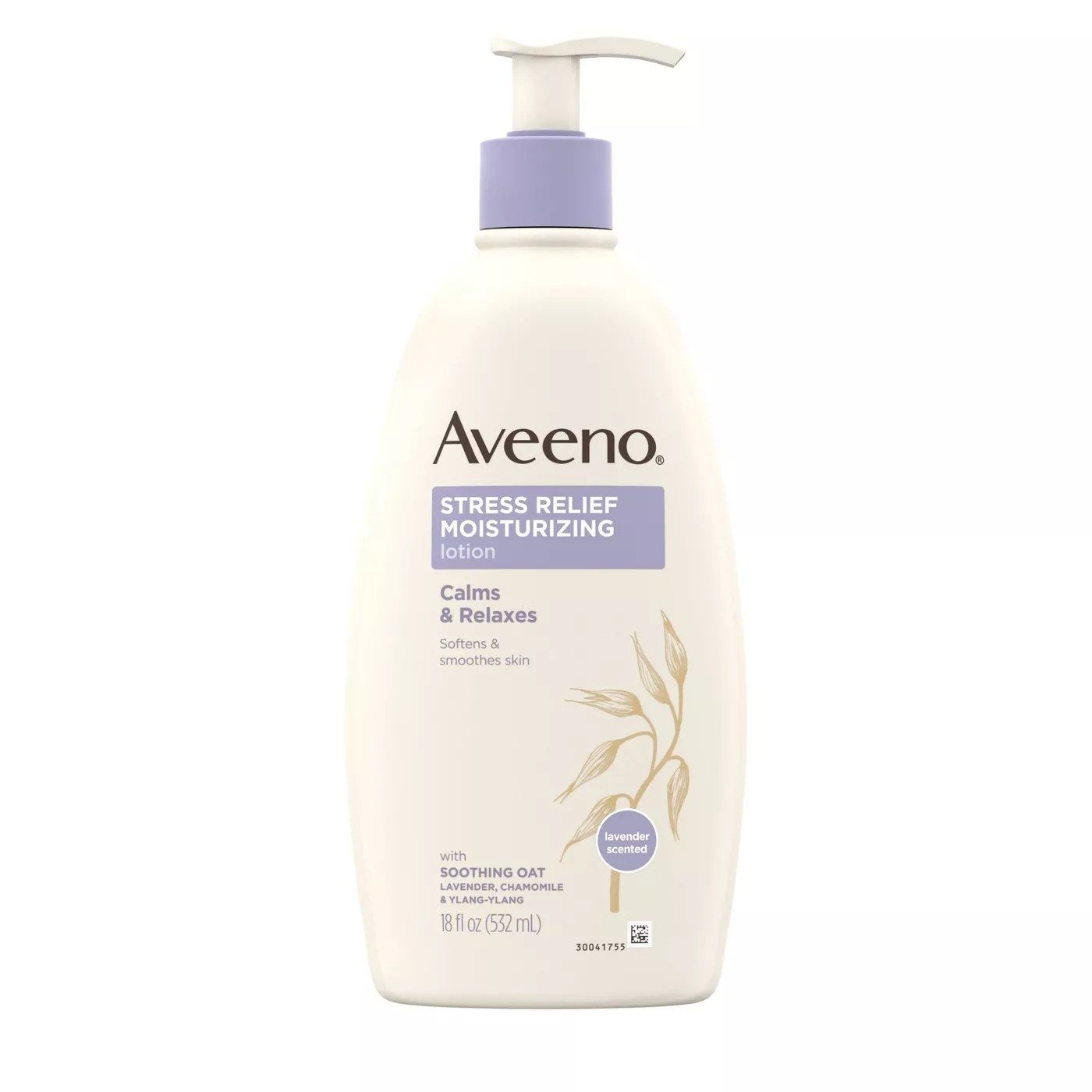 An 18-oz bottle of Aveeno stress-relief moisturizing lotion softens and smoothes skin with soothing oat, lavender, chamomile, and ylang-ylang