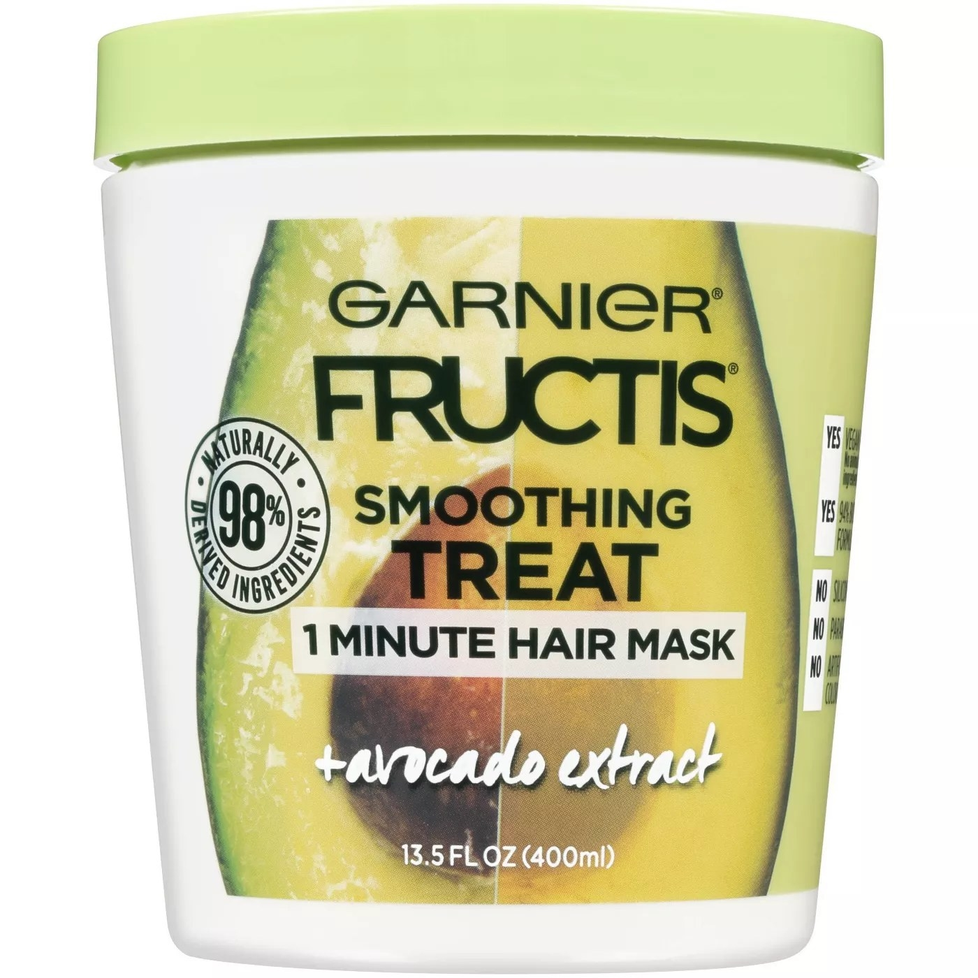 A jar of Garnier Fructis smoothing treat 1-minute hair mask with avocado extract and 98% naturally derived ingredients