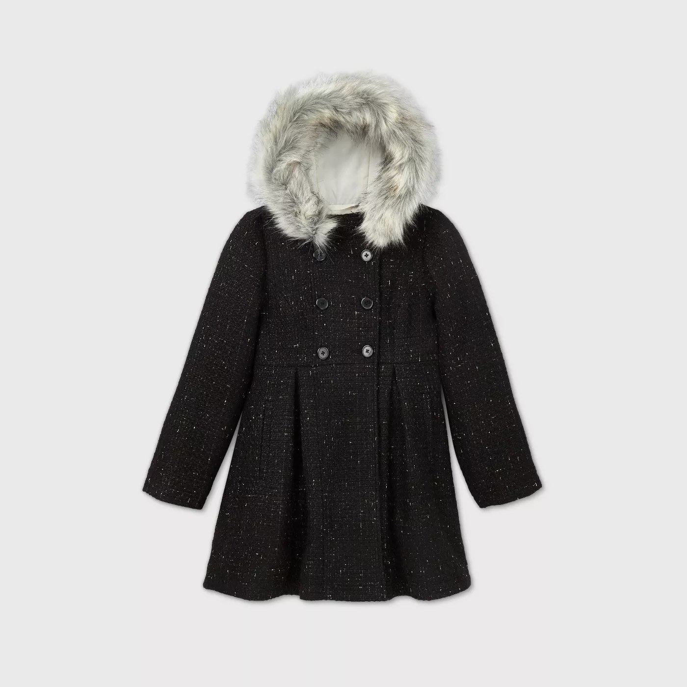 The black wool coat with a faux fur hood