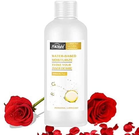 The natural water-based lubricant surrounded by roses