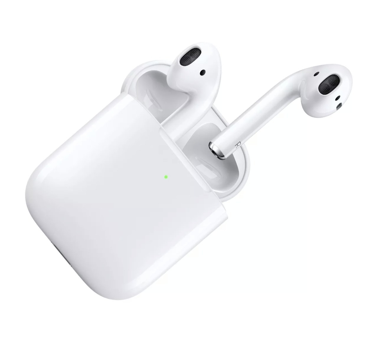 A white Apple AirPod with case