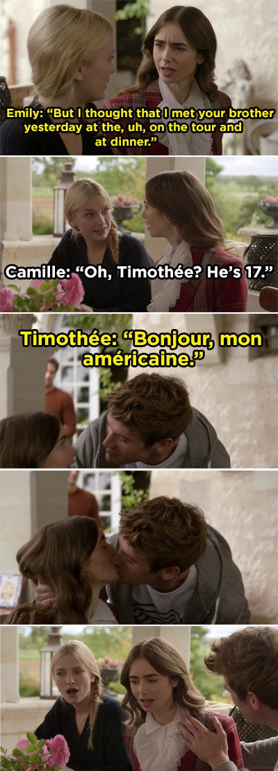 Camille telling Emily that Timothée is 17 and Timothée greeting Emily and kissing her