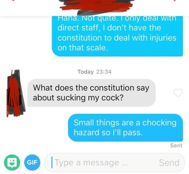 "A guy asks, ""What does the constitution say about sucking my cock?"" and the recipient responds saying small things are a choking hazard"