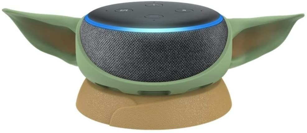 Echo dot on a stand with baby yoda ears