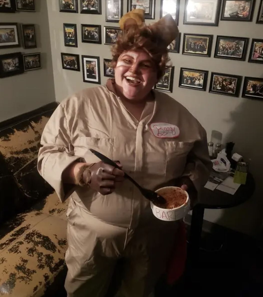 "Someone dressed exactly like Barf from ""Spaceballs,"" even holding the bowl of food"
