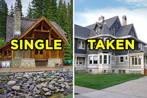 """在左边,在树林小屋标有""""单"""",并在右边,维多利亚风格的家在郊区标有""""取"""""""