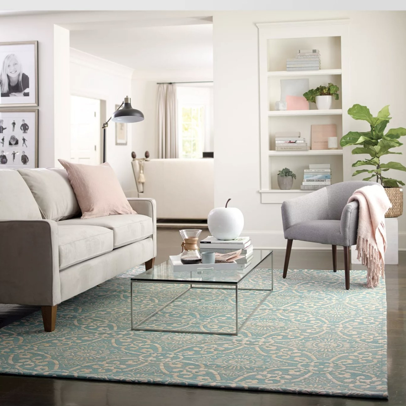 A light blue area rug in a living room
