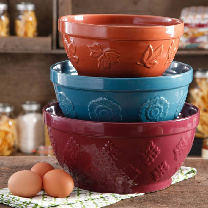 The mixing bowls stacked in size order to show how big each is