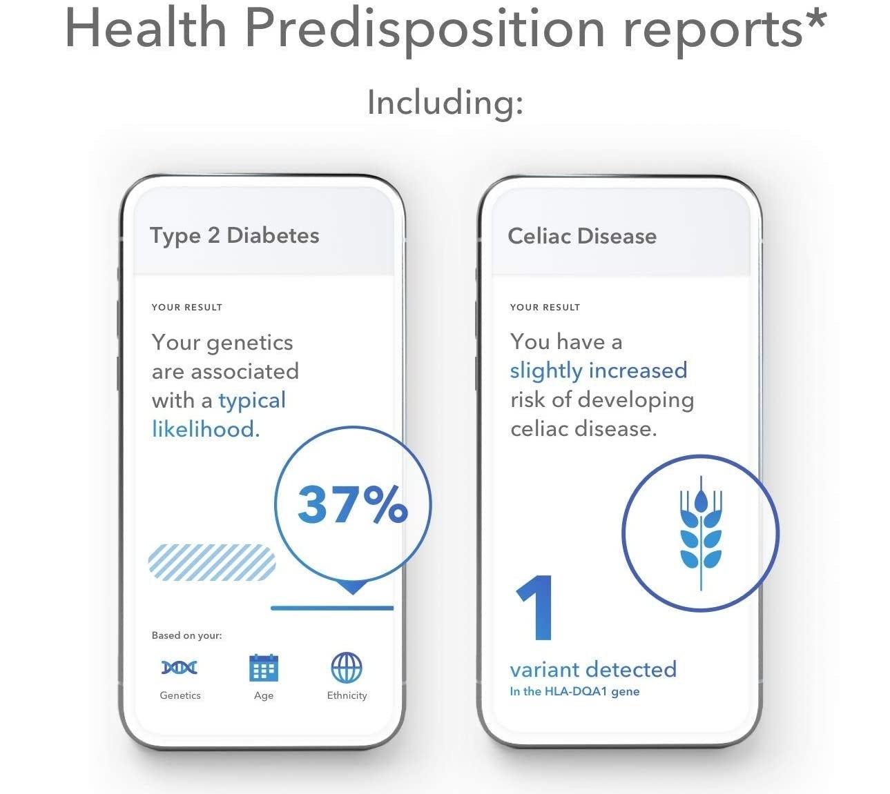 Two phone screens showing two different health conditions that a DNA test detected