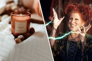 Winnifred from Hocus Pocus casting a spell on a pumpkin scented candle