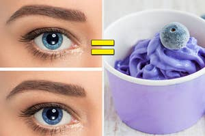 An eye is on the left with an = sign in the center and a blueberry froyo in a cup on the right