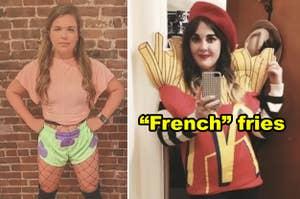 """并排侧有人打扮成性感帕特里克来自""""海绵宝宝"""",而另一个打扮成麦当劳的薯条,而穿着法国发夹"""