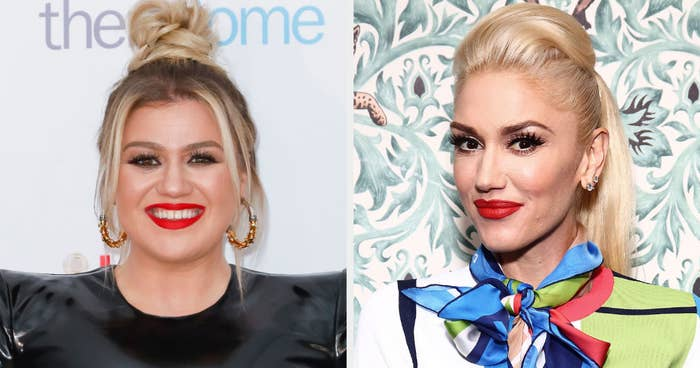 Kelly Clarkson smiling and Gwen Stefani grinning