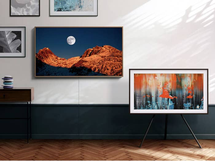 Samsung television hung up on a wall to look like artwork