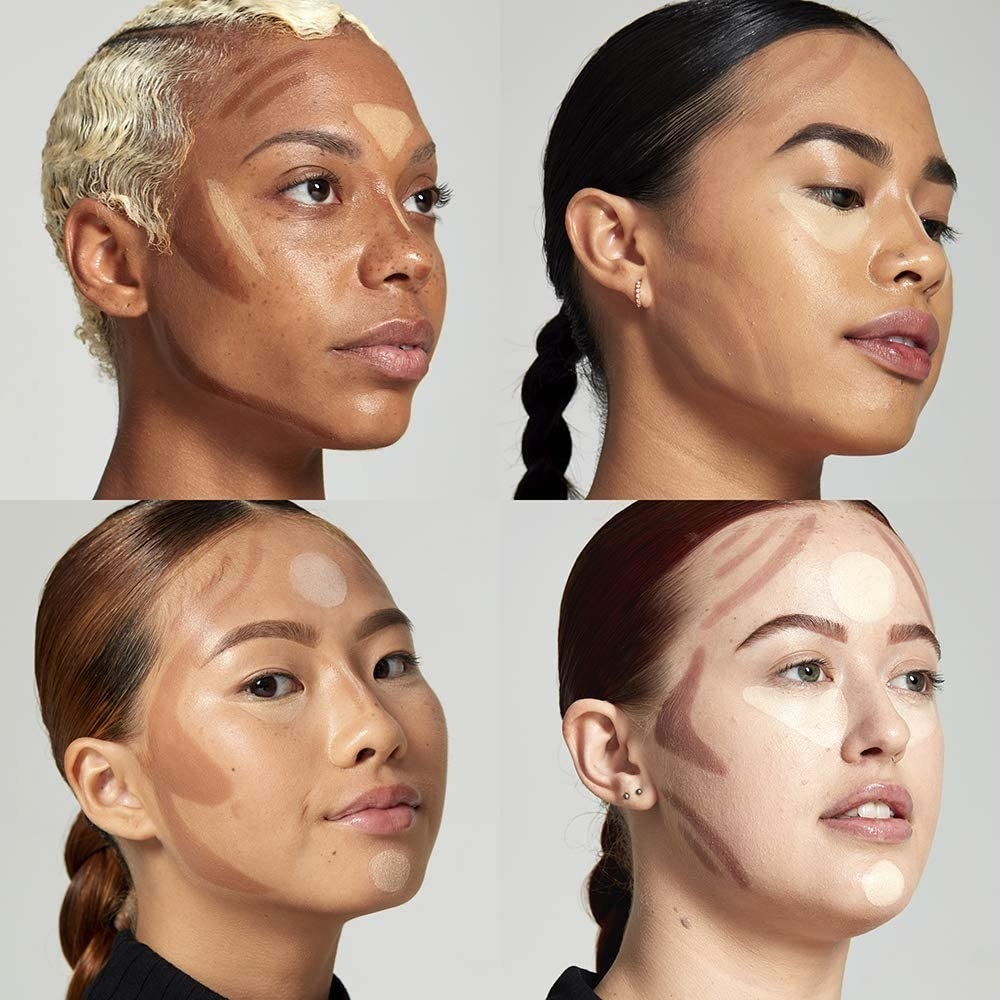 A quad of faces of different shades using the contouring tool