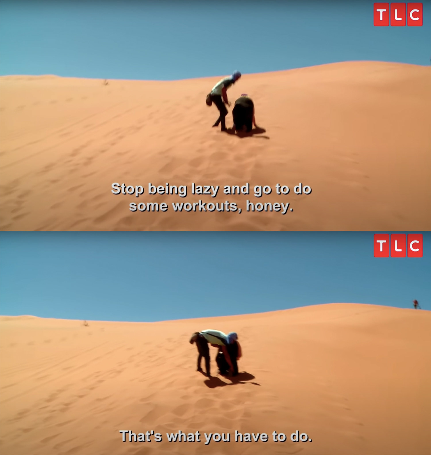 Nicole struggles to walk through the desert with Azan