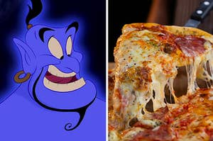 Genie from Aladdin on the left, and a slice of cheesy pizze on the right