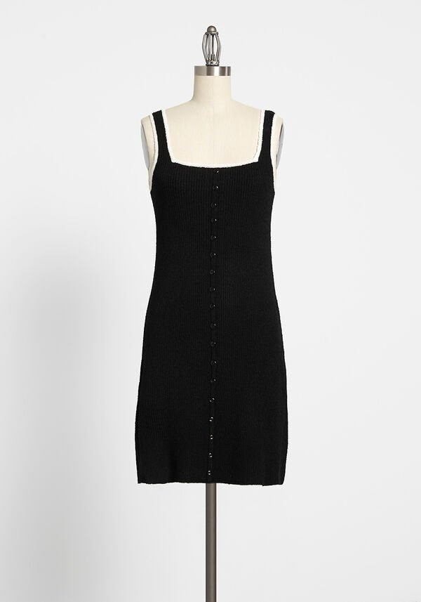 A square neck black dress with straps