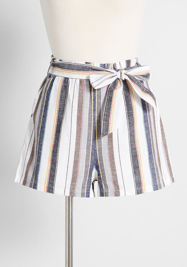 The fabric shorts with black, blue, and brown stripes on a white background and with a tie waist