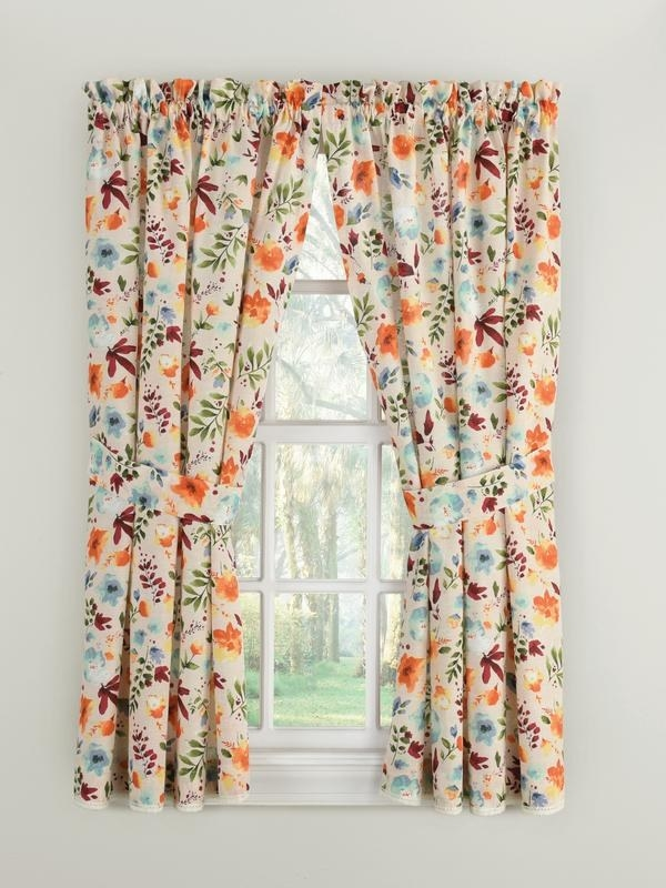 The curtains hung on a small window