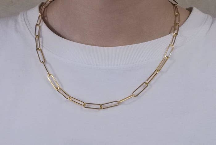 Reviewer wearing the gold link chain necklace