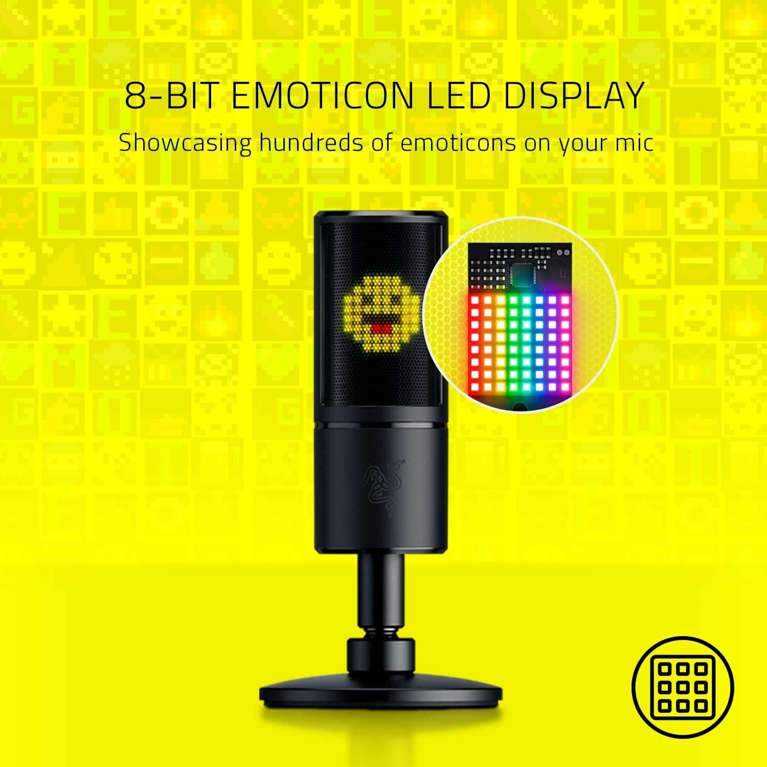 A black microphone with an LED display showing an emoji sticking its tongue out