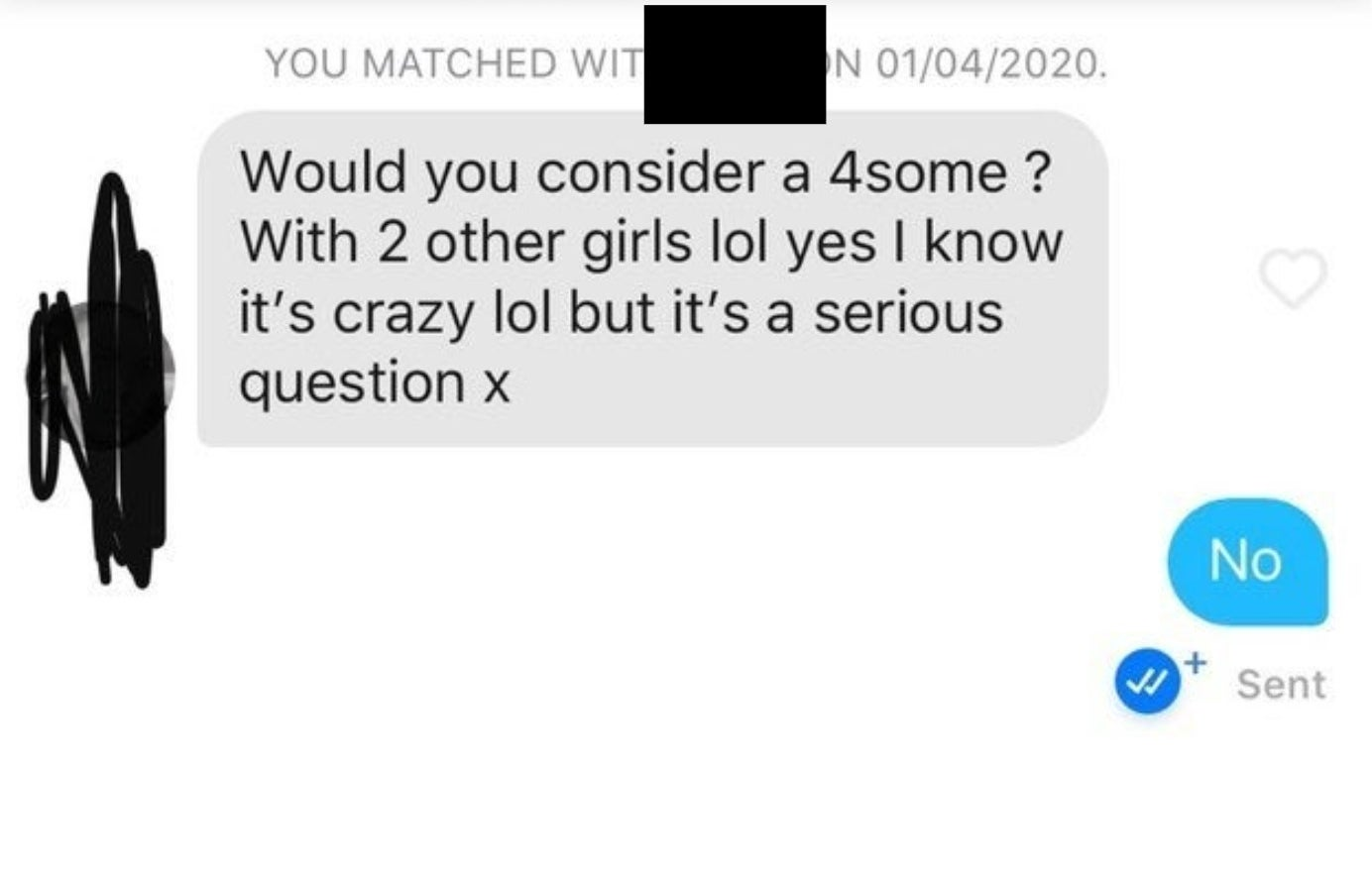 An intro message asking the other person to have a foursome with them and two other girls